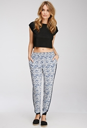 Forever 21 Abstract Tuxedo Stripe Pants Beige Navy