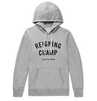 Reigning Champ Logo Print Loopback Cotton Jersey Hoodie Gray