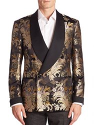 Ralph Lauren Shawl Collar Silk Formal Jacket Black Multi