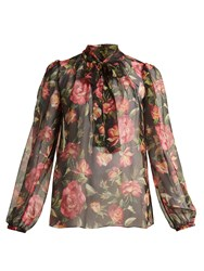 Dolce And Gabbana Rose Print Silk Chiffon Blouse Pink Multi