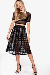 Boohoo Meena Grid Mesh Full Midi Skirt Black