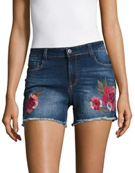 Kensie Jeans Embroidered Cut Off Jean Shorts Blue