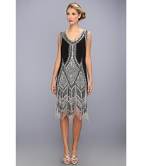 Unique Vintage Beaded And Embroidered Reproduction Flapper Dress Black Silver Women's Dress