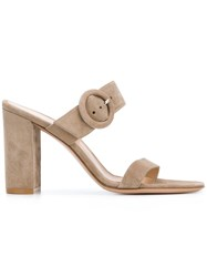 Gianvito Rossi Buckled Mules Nude And Neutrals