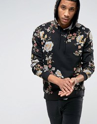 Asos Hoodie With Japanese Floral Print Black