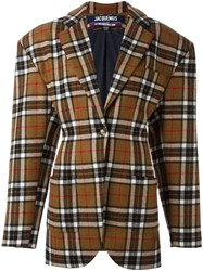 Jacquemus Checked Oversized Blazer Brown