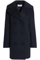 Pringle Double Breasted Brushed Wool And Cashmere Blend Coat Midnight Blue