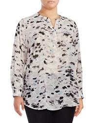 Vince Camuto Plus Long Sleeve Printed Chiffon Tunic Blouse