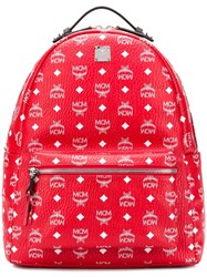 Mcm Logo Print Backpack Red