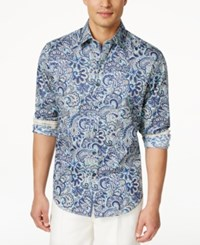 Tasso Elba Men's Paisley Button Up Shirt Only At Macy's Teal Combo