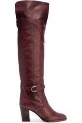 Chloe Leather Over The Knee Boots Claret