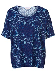 Windsmoor Animal Print Jersey Top Turquoise Blue