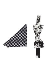 Original Penguin Botanical Bow Tie Pocket Square Hookrider Set Of 2 Black