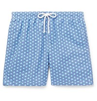 Anderson And Sheppard Slim Fit Mid Length Printed Swim Shorts Blue