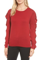 Halogenr Women's Halogen Ruffle Sleeve Sweater Red Chili