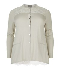 Marina Rinaldi Lace Pleat Cardigan Female Neutral