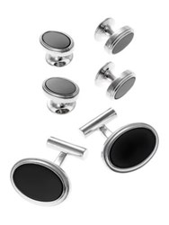 Black Brown Oval Cuff Links And Matching Studs Silver Black