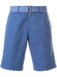 Officine Generale Belted Chino Shorts Blue