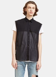 Saint Laurent Raw Edged Sheer Sleeveless Shirt Black