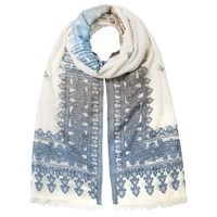 East Woven Border Cotton Scarf Blue