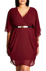 City Chic Plus Size Women's Belted Chiffon Faux Wrap Dress
