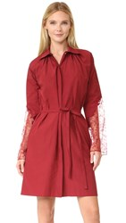 Nina Ricci Poplin Dress With Lace Sleeves Bordeaux