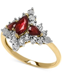 Macy's Ruby 7 8 Ct. T.W. And Diamond Accent Lady Diana Ring In 10K Gold