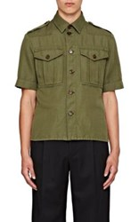 Burberry X Barneys New York Men's Twill Military Shirt Dark Green