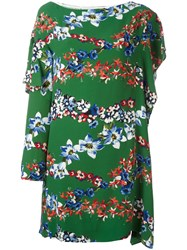 Msgm Floral Print Asymmetric Dress Green