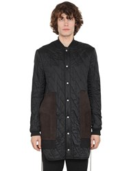 Rick Owens Quilted Nylon Coat W Suede Details Black