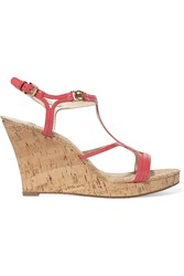 Michael Michael Kors Cicely Patent Leather And Cork Wedge Sandals Orange