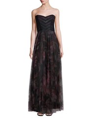 Parker Black Jacquie Printed Tulle Strapless Gown Ruby Red Black