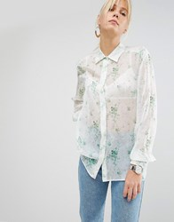 Sportmax Code Blouse In Sheer Floral White