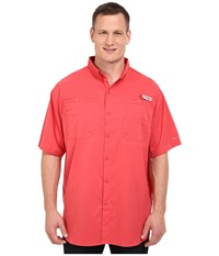 Columbia Tamiami Ii S S Tall Sunset Red Men's Short Sleeve Button Up Multi