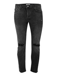 Topman Washed Black Stretch Skinny Jeans