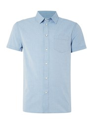 Criminal Harris Dobby Short Sleeve Shirt Blue