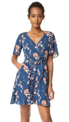 Bb Dakota Laselle Cherry Blossom Printed Wrap Dress Navy