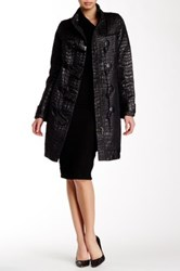 Tracy Reese Glossy Croc Embossed Duffle Coat Black