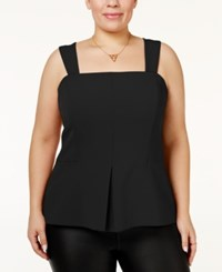 Rachel Roy Trendy Plus Size Peplum Bustier Top Black