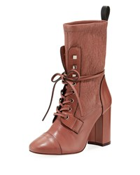 Stuart Weitzman Veruka Leather Combat Sock Bootie Rose Clay