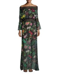Tadashi Shoji Missy 8 Off The Shoulder Floral Printed Sheer Gown Black Floral