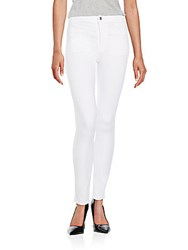 7 For All Mankind Braided Trim Skinny Jeans White