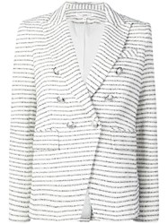 Veronica Beard Double Breasted Striped Blazer White