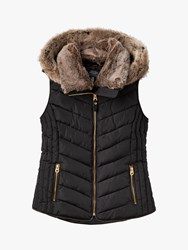 Joules Chevron Faux Fur Hooded Padded Gilet Black