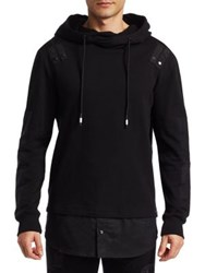 Saks Fifth Avenue Contrast Woven Panel Cotton Hoodie Black