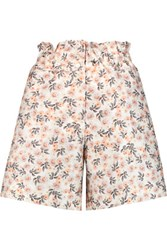 Mother Of Pearl Terry Printed Cotton And Silk Blend Shorts Beige