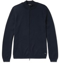 Hugo Boss Slim Fit Cotton Zip Up Sweater Navy