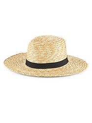 Saks Fifth Avenue City Braid Sun Hat Natural Black