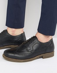 Red Tape Brogues In Black Milled Leather