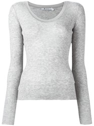Alexander Wang T By Scoop Neck T Shirt Grey